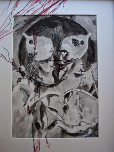 """ΣΥΝΟΜΙΛΙΑ 14- Kατερίνα Καρουλια -Εικαστικές Συνομιλίες στο ποταμό Σακουλέβα. """"Ιθάκη"""" Ζωγραφική με μελάνι και markers πανω σε μουσαμά"""