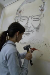 Το πορτέτο του συγγραφέα Έρνεστ Χέμινγουει απο την Μάγδα Χριστοπούλου επιτελείται στο Social του Αμυνταίου με την σύμπραξη του Γιώργου Πανταζή